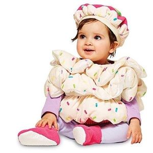 Cup cake Halloween costume with booties & hat 0-6m